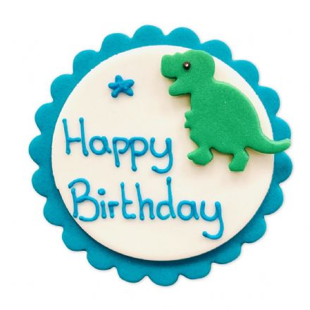 Happy Birthday Dinosaur Plaque Sugar Decoration